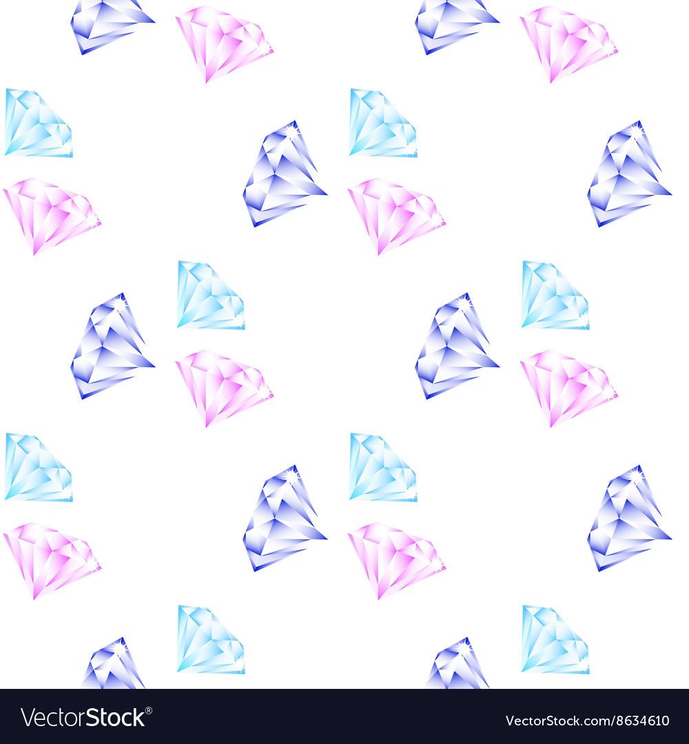 Shining diamonds seamless pattern vector image