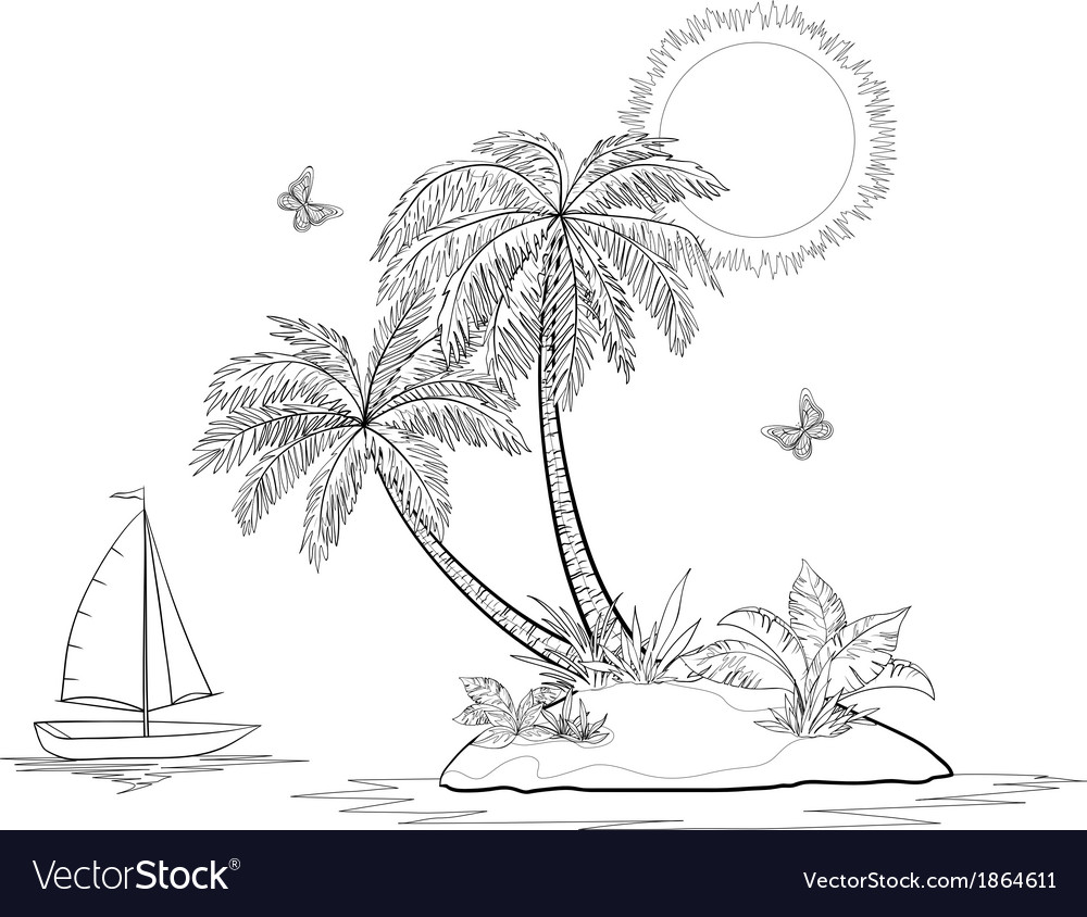 Island with palm and ship contours vector image