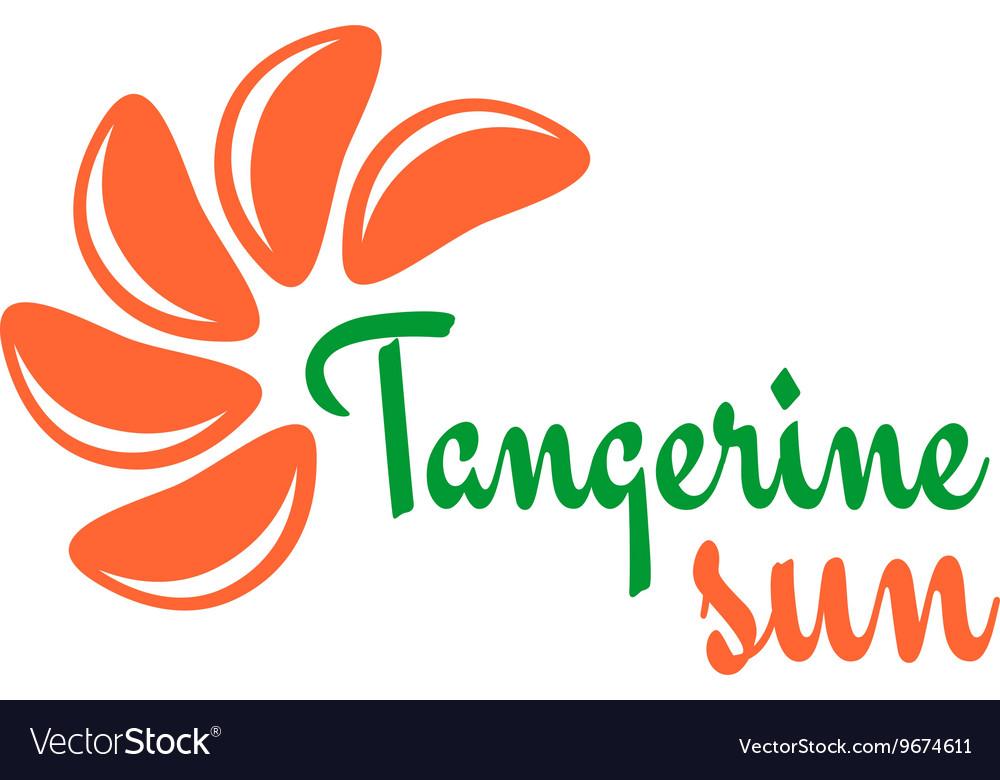 Tangerine slices logo Mandarine pieces as a sun vector image