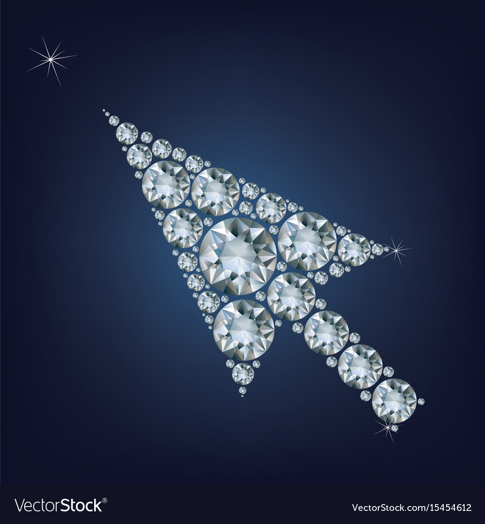 Arrow cursor shape made up a lot of diamonds vector image