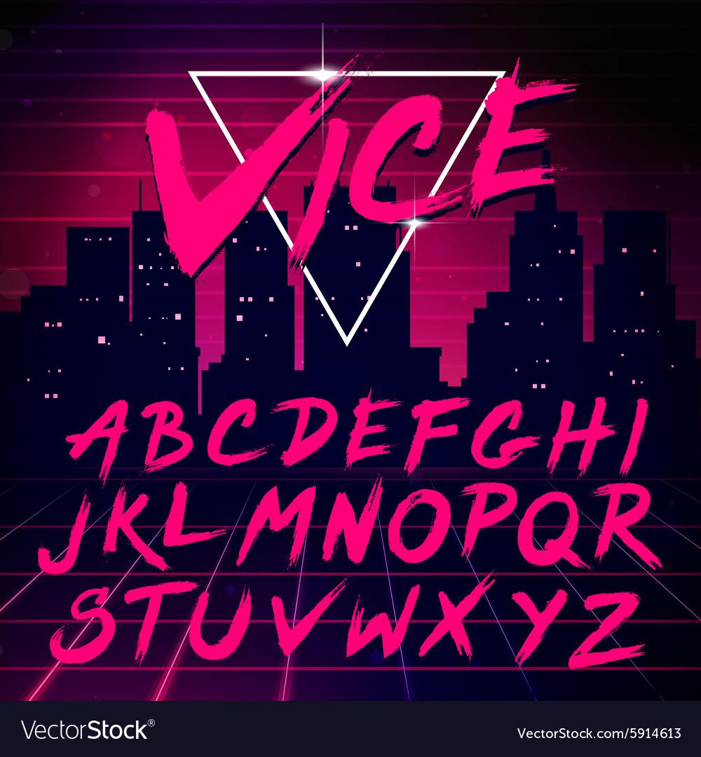 80s Retro Futurism style Font vector image