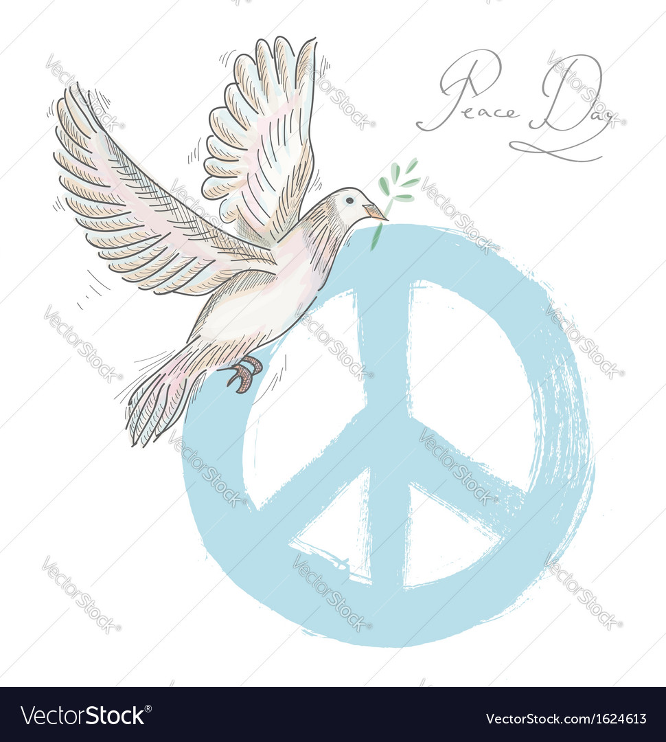Hand drawn symbol peace dove texture background vector image