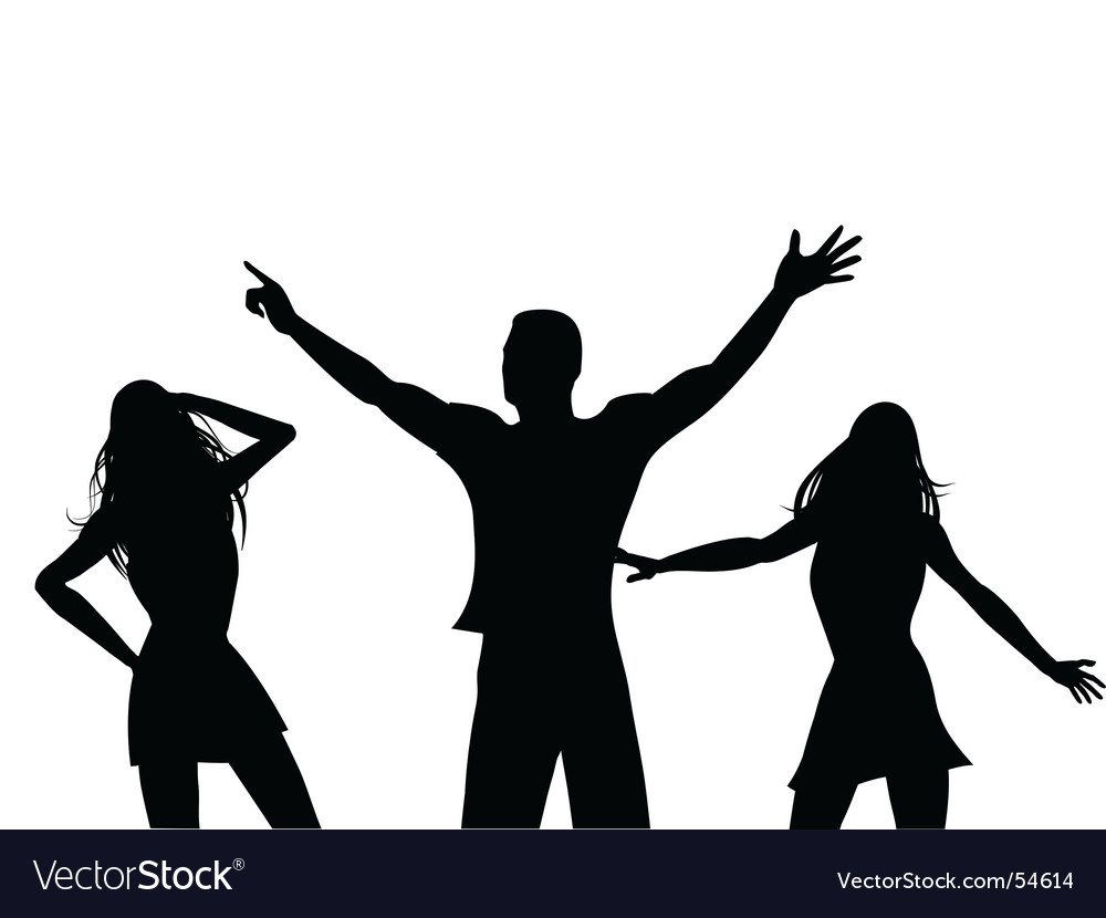 Silhouette dancers vector image