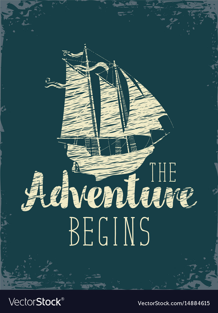 Travel banner with sailing ship and inscription vector image