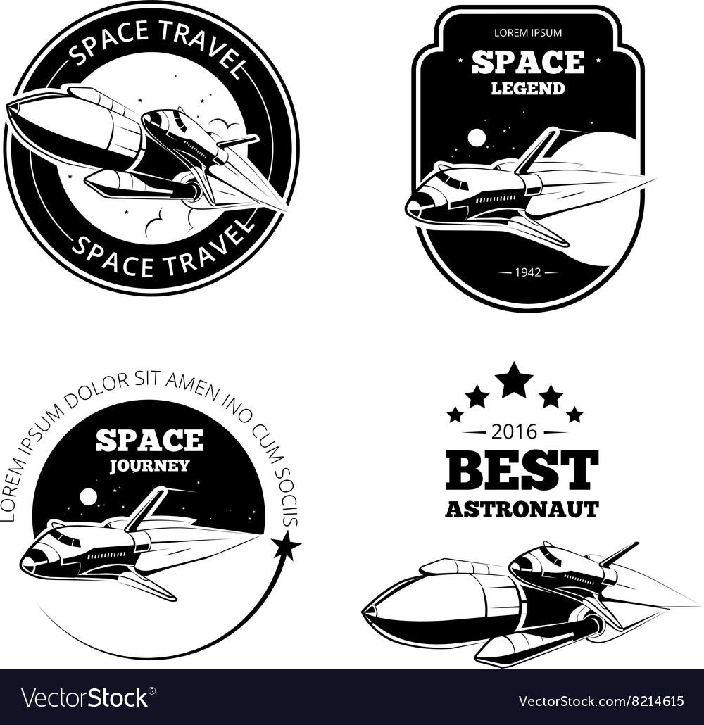 Vintage Astronaut Labels Badges Emblems Vector Image