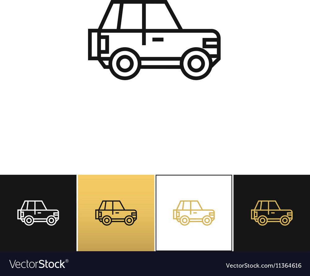 Car line sign or auto driving linear icon vector image