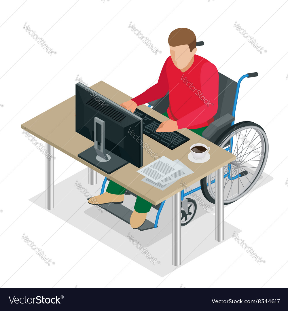 Handicapped man in wheelchair in a office working vector image