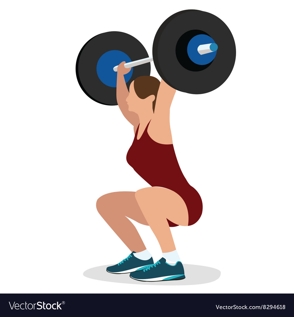 Woman female weight lifting training lift bar vector image