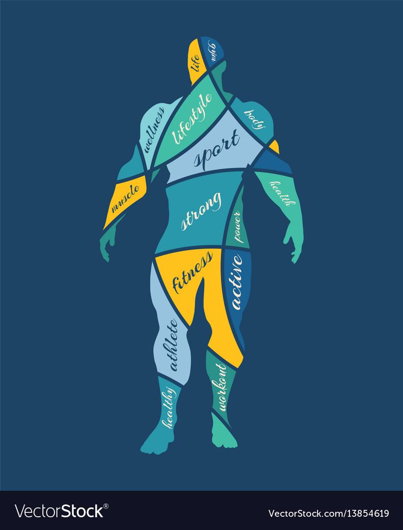 Abstract multicolor of bodybuilder vector image