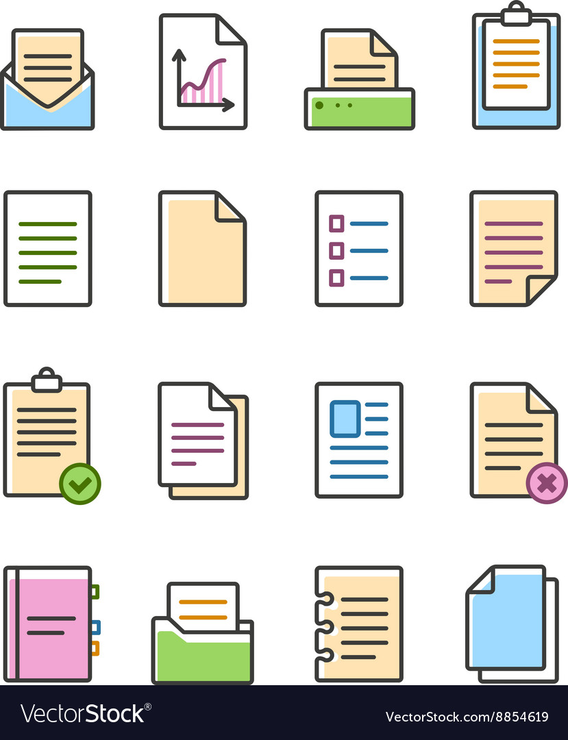 Linear document icons set isolated on white vector image