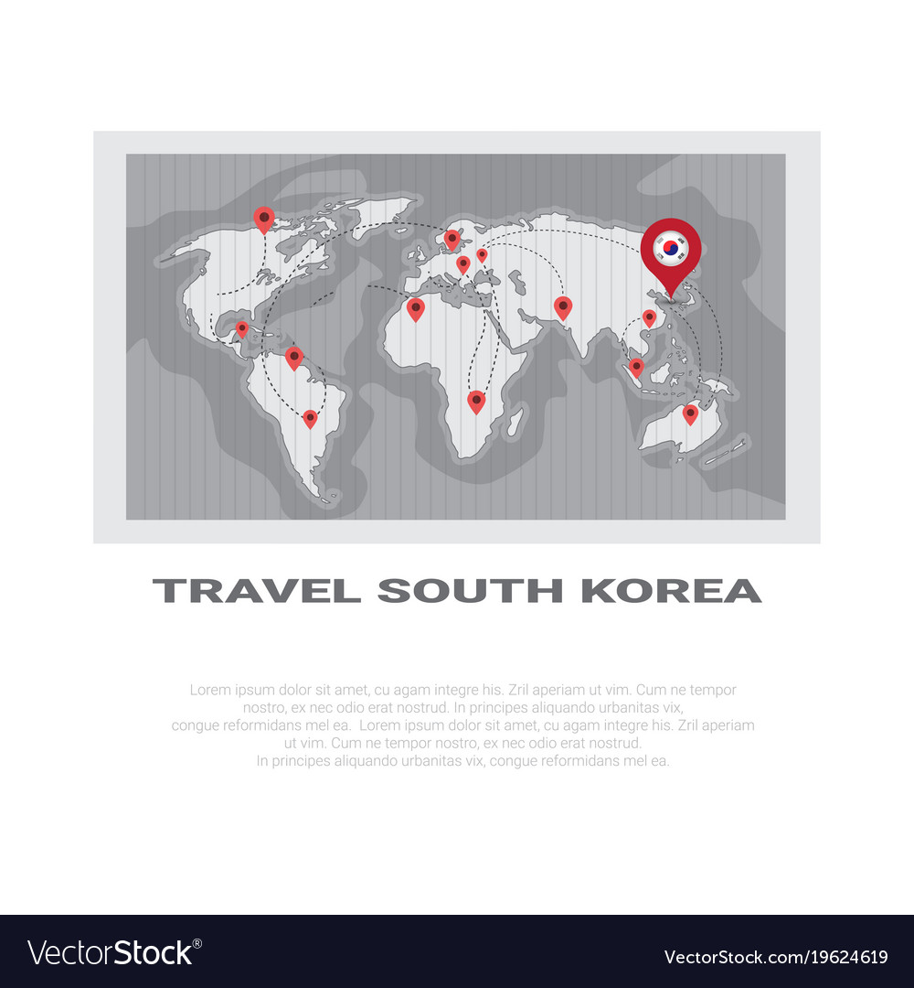 Travel to south korea poster world map background vector image travel to south korea poster world map background vector image gumiabroncs Choice Image