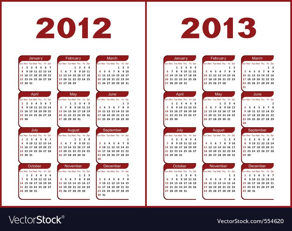 Calendar 2012 - 2013 vector image