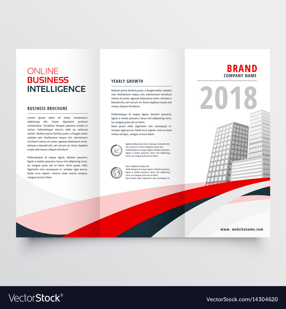 Red black wave business trifold leaflet brochure vector image