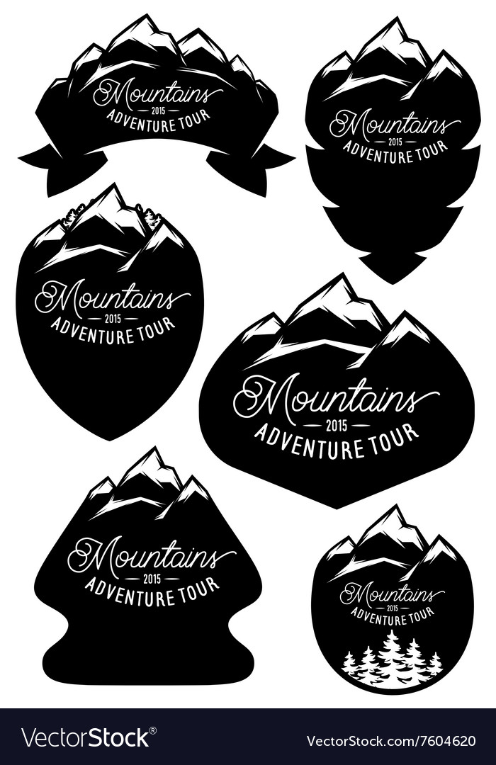 Set retro badge templates with mountains vector image