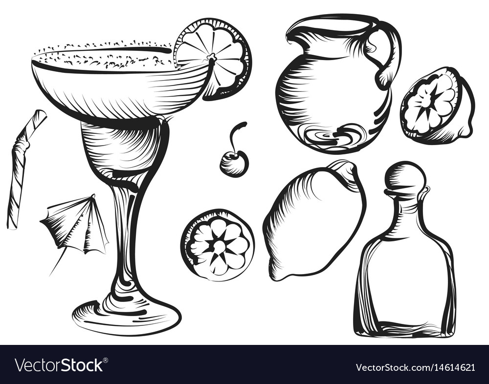 Margarita set vector image