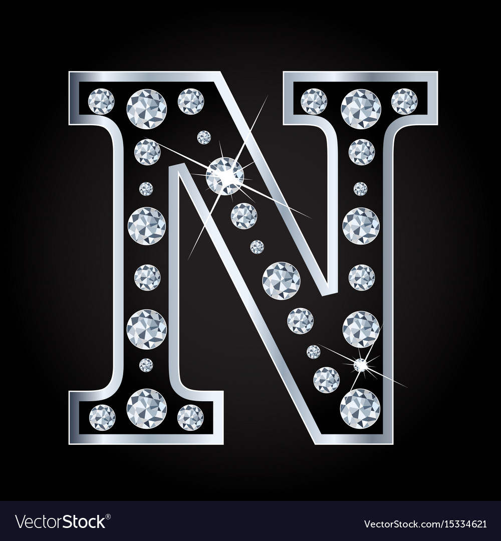 N letter made with diamonds isolated on vector image