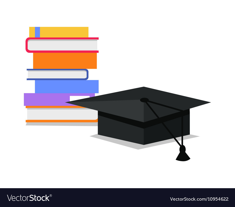 Stack of Books and Square Academic Cap vector image