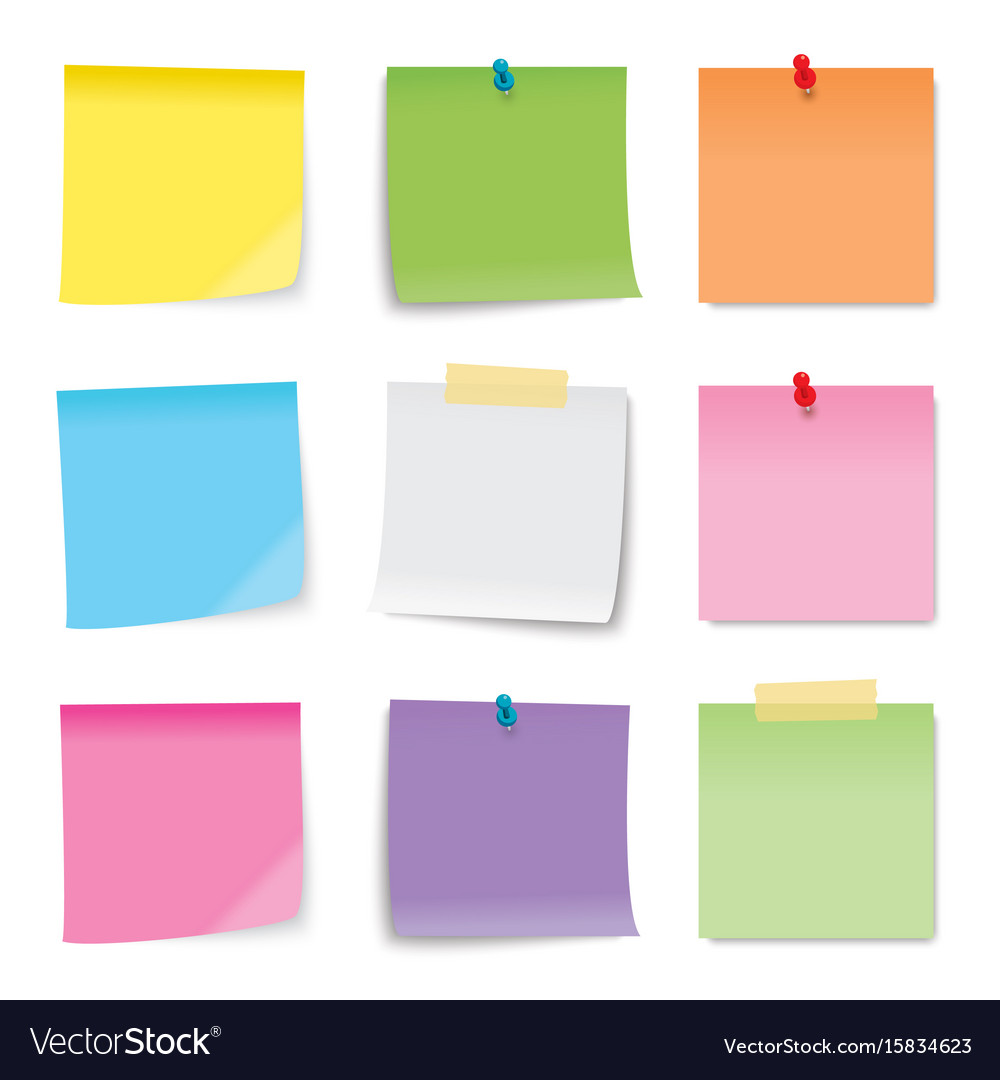 Sticky note colored sheets isolated on white vector image