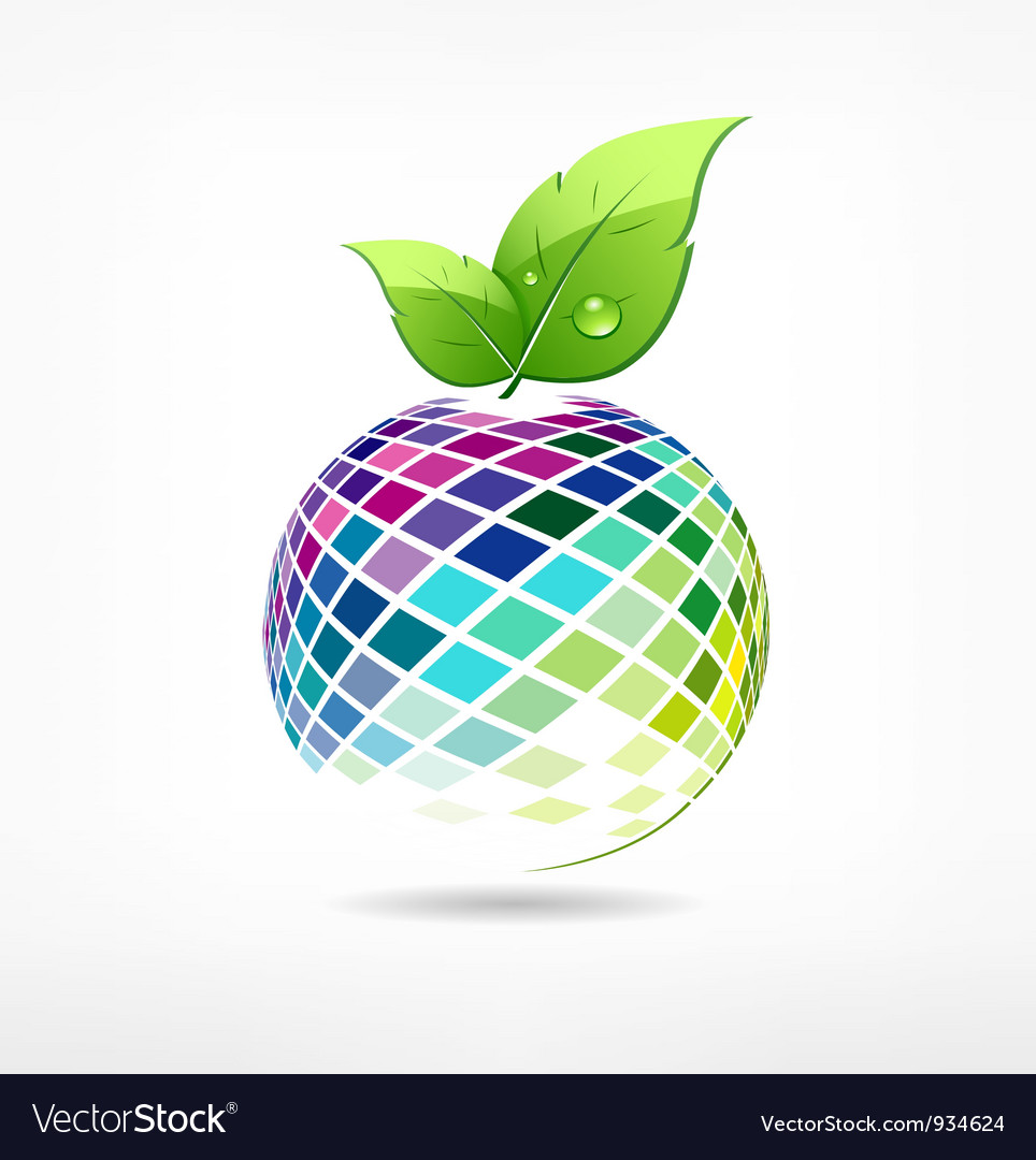 Colorful globe fruit ecology vector image