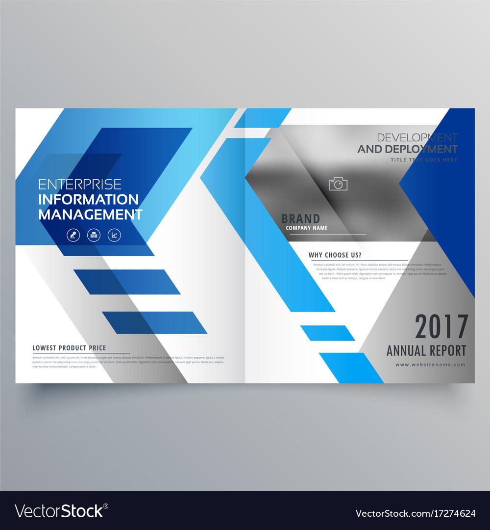 elegant brochure templates - elegant blue bifold brochure design template or vector image