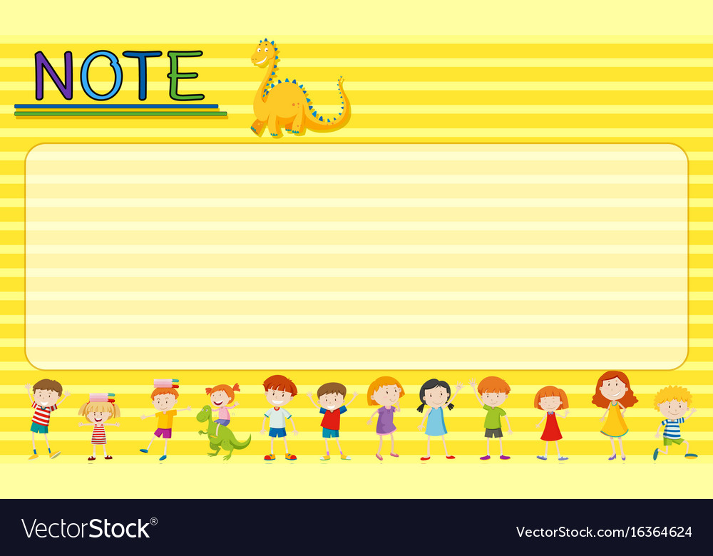 Paper template with kids and dragons vector image
