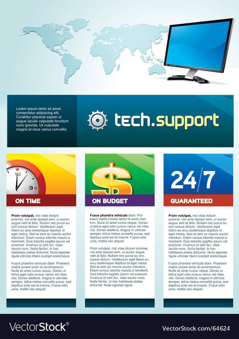 Tech support brochure vector image
