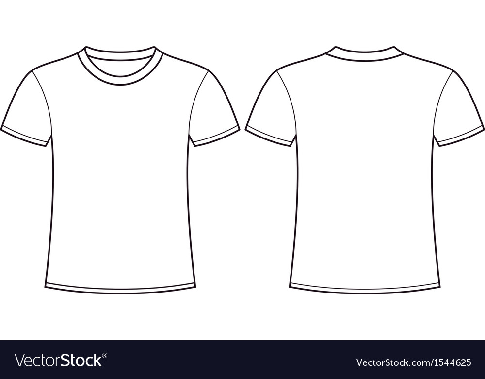 blank t shirt template front and back royalty free vector image vectorstock. Black Bedroom Furniture Sets. Home Design Ideas
