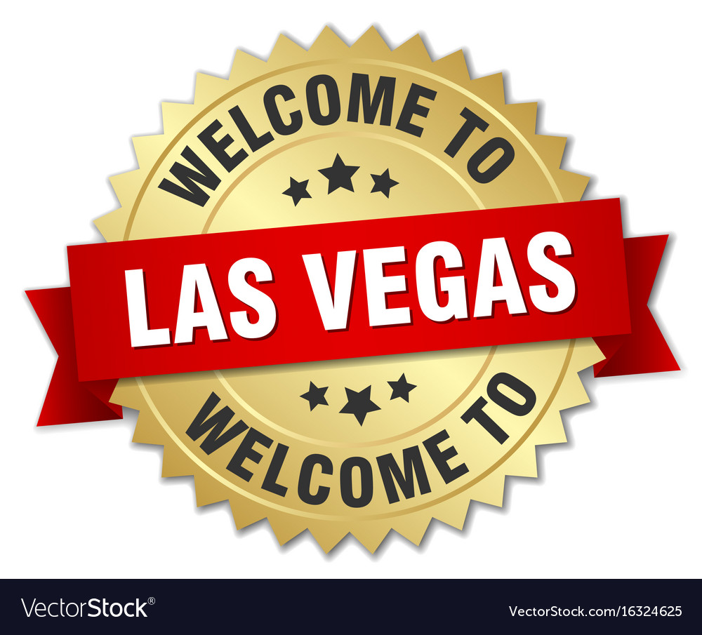Las vegas 3d gold badge with red ribbon vector image