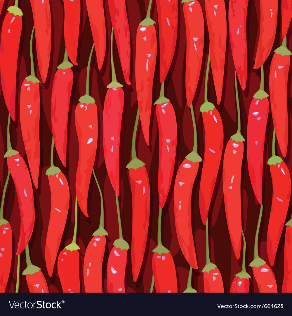 Red cayenne chili pepper seamless vector image