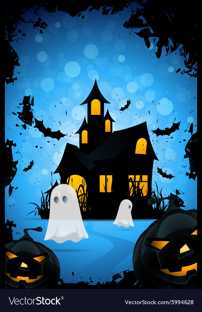 Halloween Background with Haunted House Pumpkins vector image