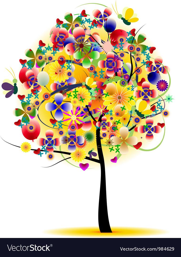 Beauty summer tree abstract vector image