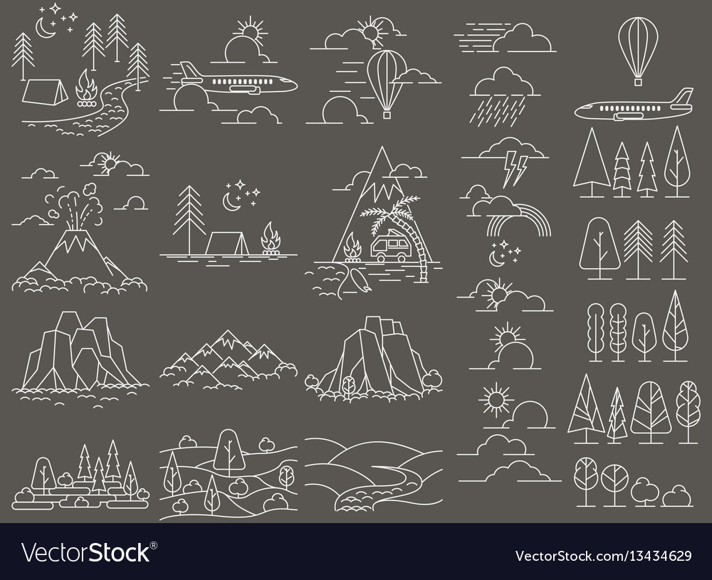 Nature line icon landscapes vector image