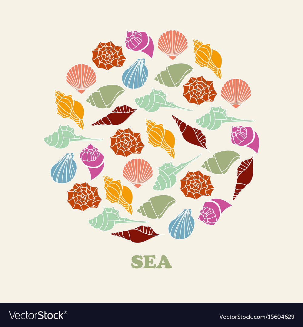 Sea shell of color silhouettes vector image