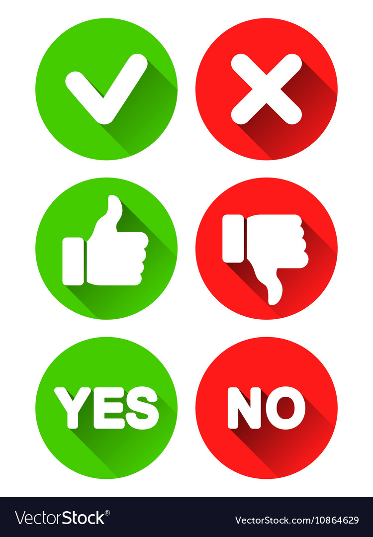 Yes And No Icons Royalty Free Vector Image