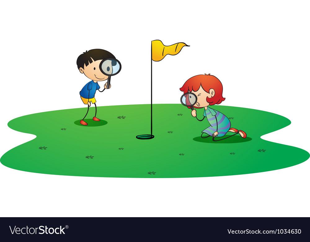 Kids on golf ground vector image