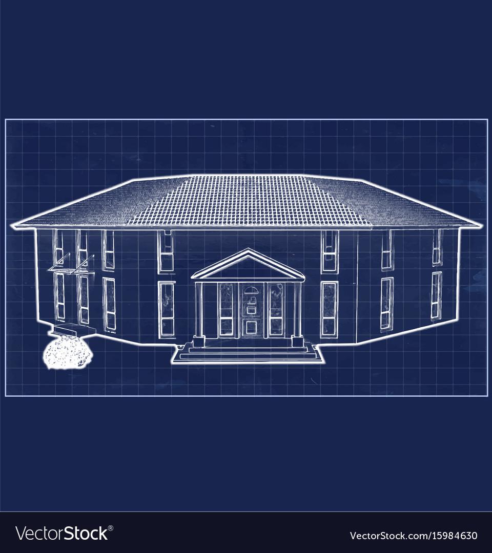 Blueprint villa vector image