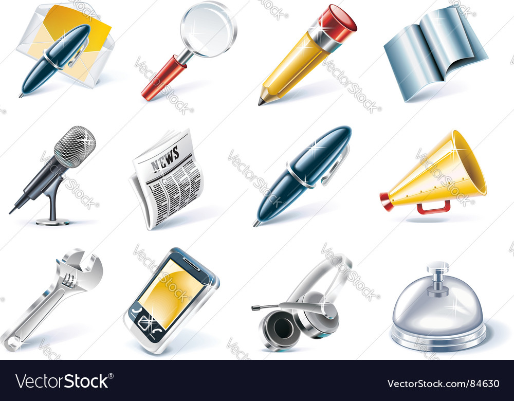 Communication and media icon set vector image
