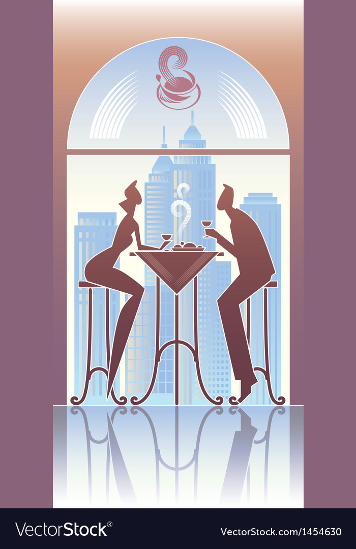 Dinner in the city vector image
