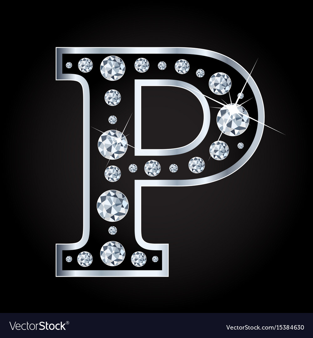 P letter made with diamonds isolated on vector image