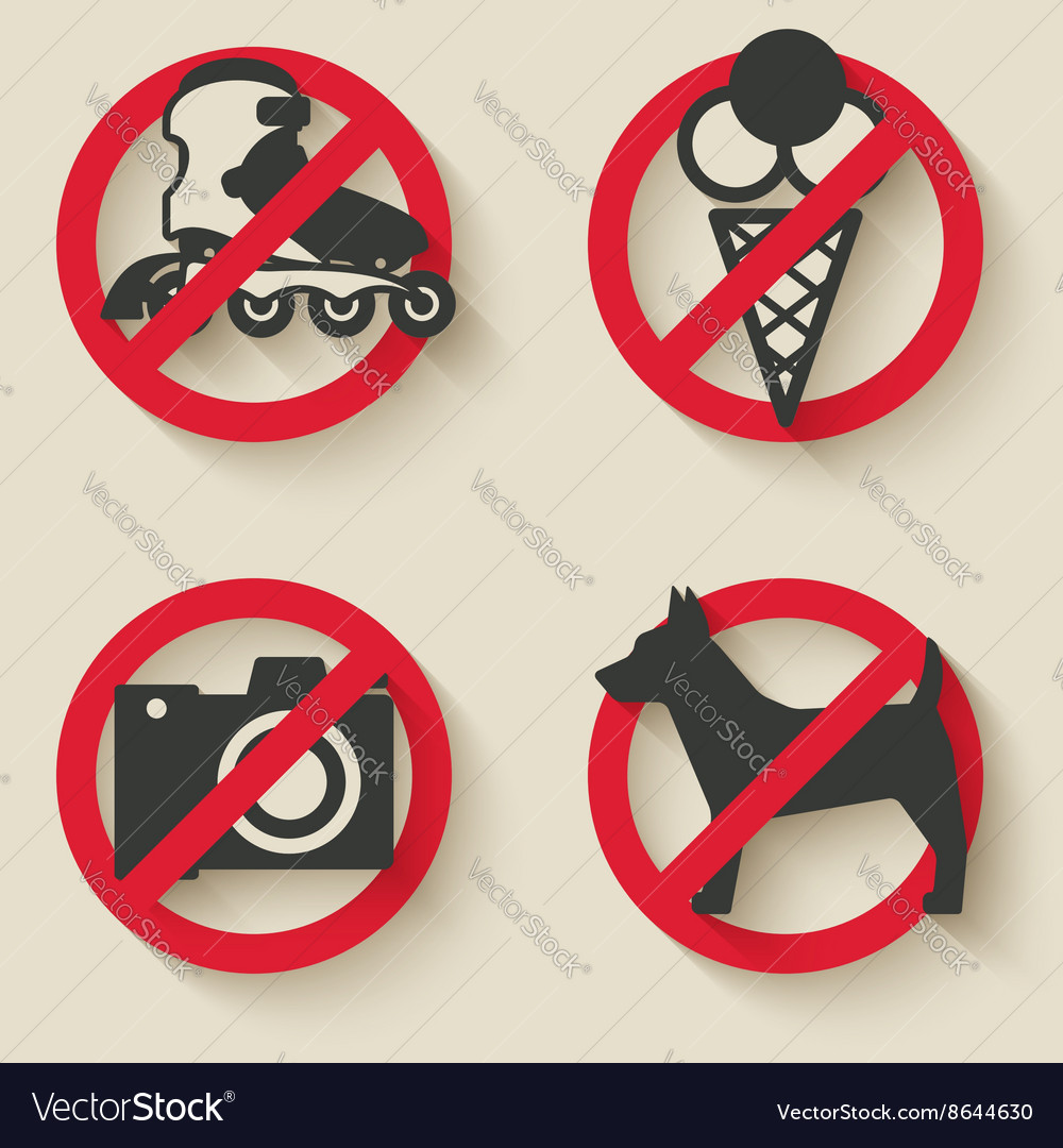 Prohibited signs icons vector image