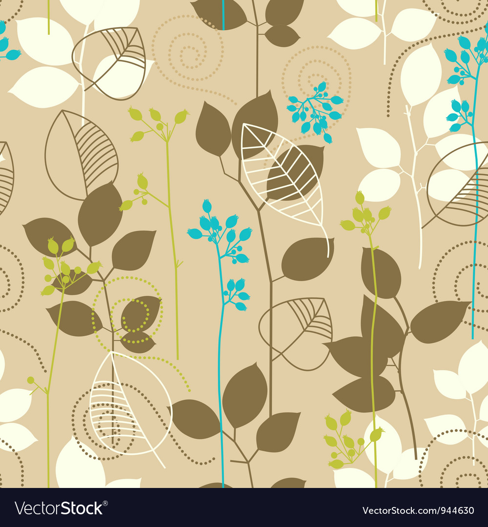 Retro fall leaves seamless pattern vector image