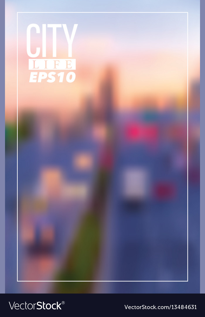 Blurry city background vector image