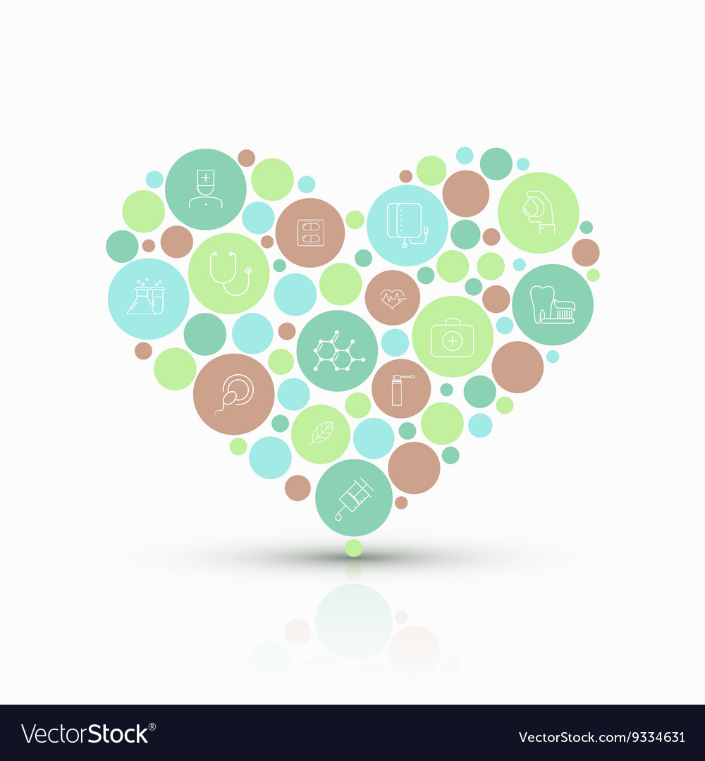 Modern concept heart with flat outline vector image