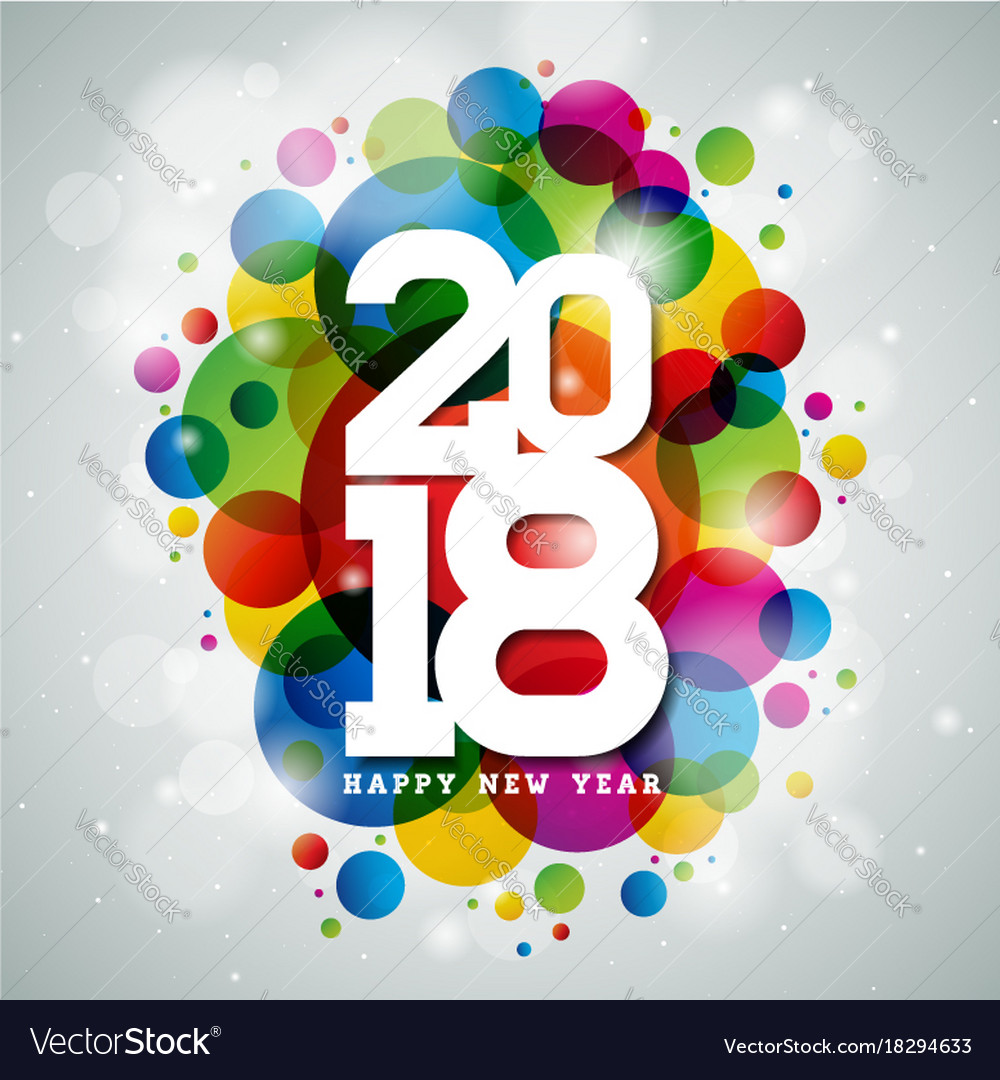Happy new year 2018 on shiny vector image