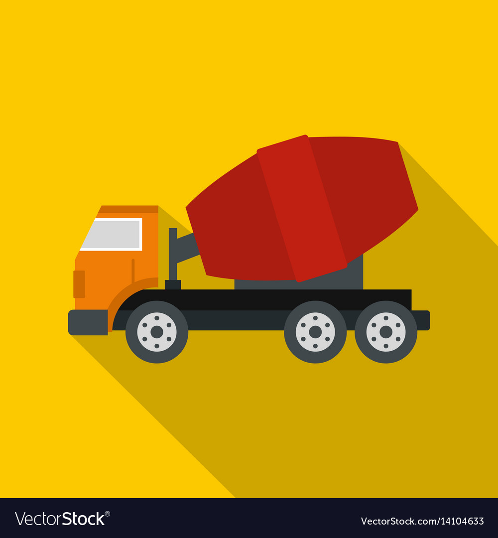 Truck concrete mixer icon flat style vector image
