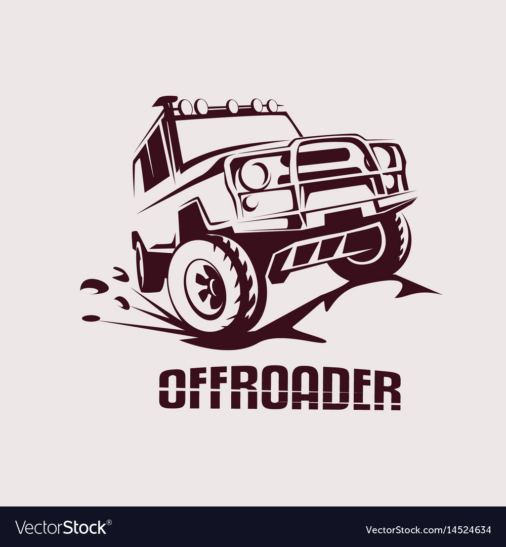 Offroad suv car monochrome template for labels vector image