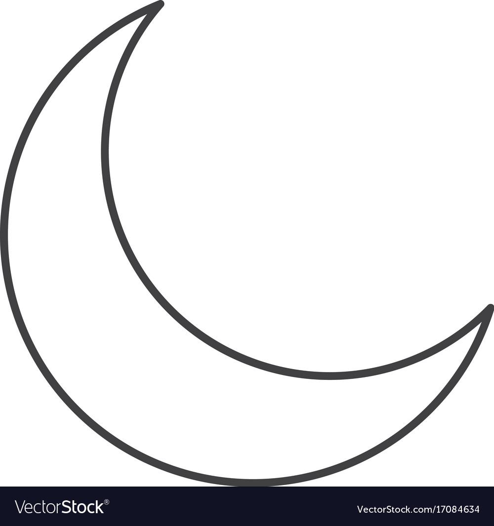 Thin line crescent moon icon vector image