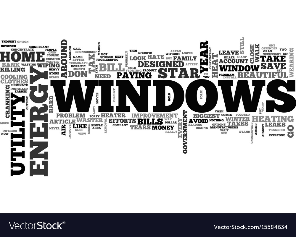 Windows and killer utility bills text word cloud vector image