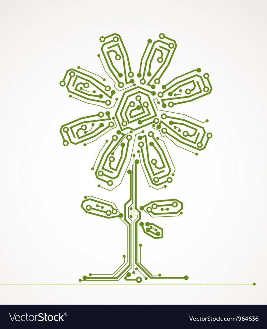 Abstract flower of computer board Vector Image