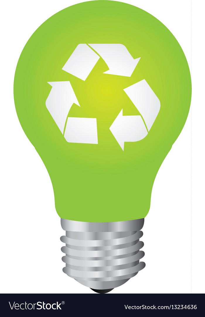 Green bulb eco icon vector image